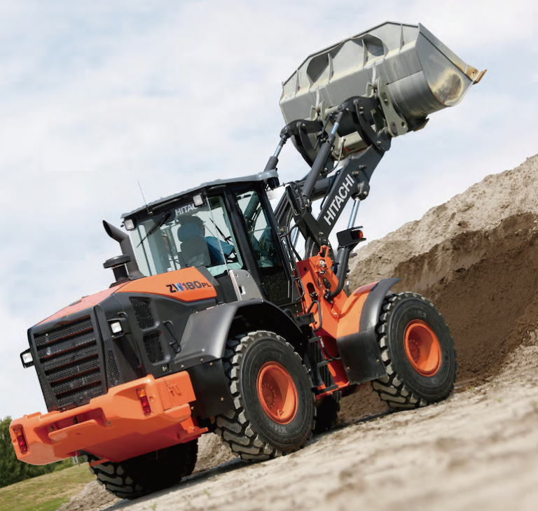 HITACHI ZW180PL-5 Wheel Loader - Rear view with bucket raised