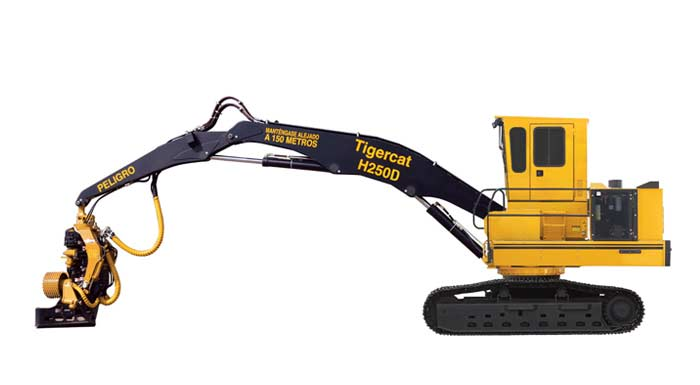 TIGERCAT H250D Track Harvester - Side profile view
